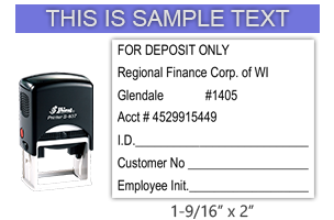 """This Shiny 837 1st Checks Deposit custom stamp comes in black only! Refillable & durable. Impression size: 1-9/16"""" x 2"""". Free shipping over $45!"""
