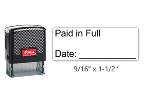 """The Shiny 852 1st Checks Paid in Full stock stamp comes in black only! Refillable & durable. Impression size: 9/16"""" x 1-1/2"""". Free shipping over $45!"""