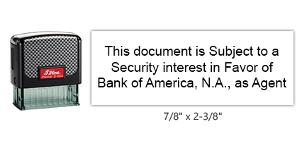 """The Shiny 854 1st Checks Security Interest stock stamp comes in black only! Refillable & durable. Impression size: 7/8"""" x 2-3/8"""". Free shipping over $45!"""