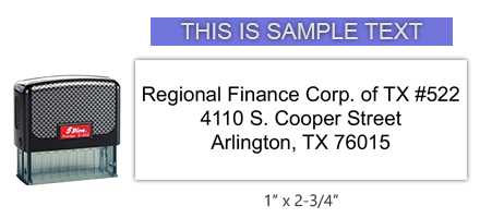 """This Shiny 855 1st Checks custom branch address stamp comes in black ink! Refillable & durable. Impression size: 1"""" x 2-3/4"""". Free shipping over $45!"""