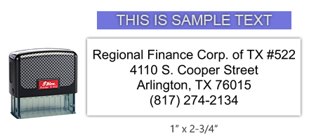 """The Shiny 855 1st Checks custom branch address w/ phone stamp comes in black only! Refillable & durable. Impression size: 1"""" x 2-3/4"""". Free shipping over $45!"""