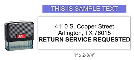 """Shiny 855 1st Checks Return Service Requested custom stamp comes in black only! Refillable & durable. Impression size: 1"""" x 2-3/4"""". Free shipping over $45!"""