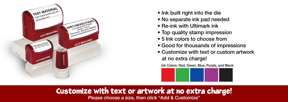 Rubber Stamp Champ Announced Today The Addition Of Complete Line Ultimark Pre Inked Stamps In 22 Different Custom Sizes All At 30 Off