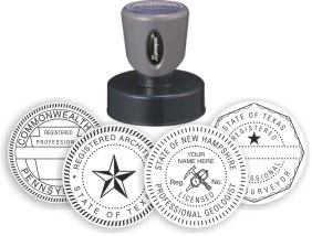 Engineer Architect Stamps. Professional seals and stamps for engineers architects. EZ Order by state. Self inking architect stamps. Pre inked engineer stamps. Architect embossers. Secure ordering. Free Shipping.