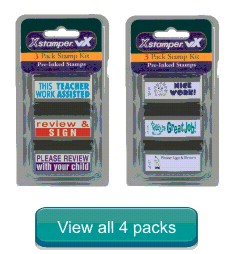 Rubber stamps for teachers and schools. 3 pack of rubber stamps. Secure online order. Knockout prices and free shipping on orders over $10.