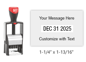 Metal core 1-1/4 x 1-13/16 custom self inking changeable date stamp suitable for heavy use. 11 ink colors to choose from. Ships free in 1-2 business days!