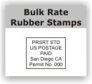 Bulk rate rubber stamps for glossy or non glossy postcards and mail. Easy online ordering and free shipping on orders over $10!