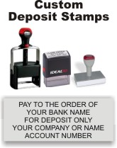 Bank Deposit Stamps. Office Supply Rubber Stamps. For Deposit Only Bank Stamps.  Stock or Custom. Secure Ordering. Free Shipping. RubberStampChamp.com