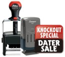 Custom Date Stamps at Knockout Prices. Plastic and metal daters. Customize online and get free shipping!  11 ink colors to choose from! Secure order and fast service!