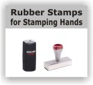 Hand Stamps for events at Knockout Prices. Customize with text or custom artwork at no extra charge! Stamp on skin with our tattoo pads or UV ink stamps. Secure online order. Free shipping on orders over $10.