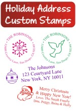 Christmas custom address rubber stamps. Santa. Christmas trees. Merry Christmas, candy canes and more. Self Inking. Secure order online. RubberStampChamp.com Knockout Prices.
