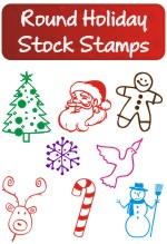 Round Holiday Stock Stamps