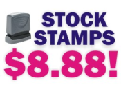 Stock Message Stamps at Knockout Prices! Over 150 messages to choose from in your choice of 11 ink colors. Secure order online and free shipping on orders over $10.