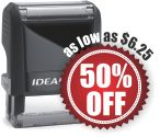 Ideal self-inking rubber stamps. Customize with text or custom artwork at no extra charge! 11 ink colors. Volume discounts. Secure order online. Knockout Prices and free shipping.