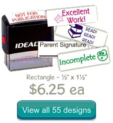 Rubber stamps for teachers and schools. Hundreds of designs to choose from in 11 ink colors. Easy online ordering. Free shipping on all orders over $10. Save on Ideal, Xstamper and more!