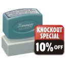 Pre-Inked Rubber Stamps at Knockout Price and service! Customize with text or custom artwork at no extra charge.  11 ink colors to choose from. Secure online order. Free shipping.