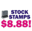 Hundreds of stock message rubber stamps at a Knockout Price $8.88 Order online. Secure server. Free Shipping over $10.