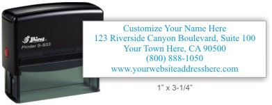 Custom address rubber stamps.  Pre-ink, self-ink, round, or monogram rubber stamps.  Secure easy online ordering, fast service and free shipping! Knockout Prices from Rubber Stamp Champ.