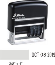 Dater with small space for custom message before the date in your choice of 11 ink colors. Ships in 2 business days with free shipping on orders over $10!