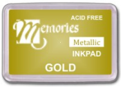 Memories Metallic Gold Pigment Stamp Pads. Fast delivery. Easy online ordering. Volume discounts. RubberStampChamp.com. Free shipping.