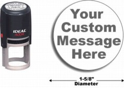 Customize free with text or your logo in your choice of 11 ink colors.  Ships in 1-2 business days.  Top quality Ideal 400R round self-inking stamp.  Orders ship free over $10.