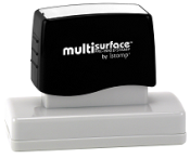Permanent multi-surface IS-23 pre-inked rubber stamp quick dries on glossy paper, CDs, metal, plastic and more.  Free Shipping on order over $10.