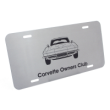 This brushed stainless steel license plate is customizable and engraved with text or logo. Fits standard license plate area and frame. Orders over $25 ship free.