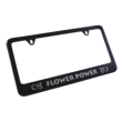 This black stainless steel license plate frame is engraved with your custom text. Add style to your vehicle with this personal frame. Orders over $15 ship free.