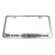 This stainless steel license plate frame can be engraved with your custom text. Add style to your vehicle with this personal frame. Orders over $25 ship free.