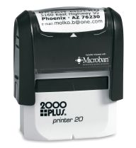 Cosco® 2000 Plus Printer Series. Self-inking and available in 11 colors. Microban handle. Free shipping. Personalized at no extra charge from RubberStampChamp.com.