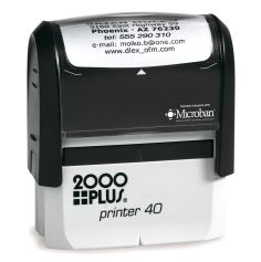 Customize free with text or your logo in your choice of 11 ink colors.  Ships in 1-2 business days and free shipping on orders over $10.  Top quality Cosco Printer 40 self-inking stamp.
