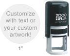 Customize free with text or your logo in your choice of 11 ink colors.  Ships in 1-2 business days and free shipping on orders over $10.  Top quality Cosco Printer R24 round self-inking stamp.