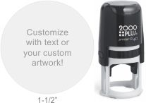 Customize free with text or your logo in your choice of 11 ink colors.  Ships in 1-2 business days and free shipping on orders over $10.  Top quality Cosco Printer R40 round self-inking stamp.