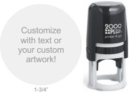 Customize free with text or your logo in your choice of 11 ink colors.  Ships in 1-2 business days and free shipping on orders over $10.  Top quality Cosco Printer R45 round self-inking stamp.