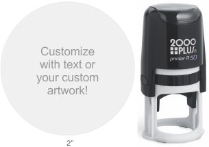 Customize free with text or your logo in your choice of 11 ink colors.  Ships in 1-2 business days and free shipping on orders over $10.  Top quality Cosco Printer R50 round self-inking stamp.