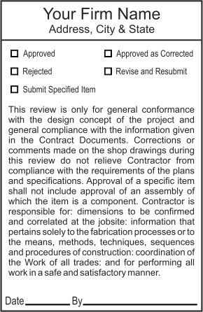 Engineering and architect shop drawing and review stamps - General notes for interior design drawings ...