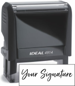 Don't write it, Stamp it! Medium self-inking stamp with your actual signature in your choice of 11 ink colors! Free shipping on orders over $15!