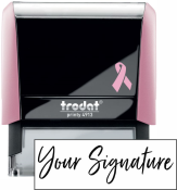 Don't write it, Stamp it! Customize this pink self-inking stamp with your actual signature in your choice of 11 ink colors! Free shipping on orders over $10!