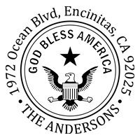God Bless America round monogram address stamp in 11 vibrant ink colors and choose between 3 impression mounts. Fast & free shipping on orders $45 and over!