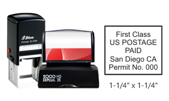 "Customize this 1 1/4"" x 1 1/4"" bulk rate First Class stamp with your information. Black ink only. Great for high volume stamping. Orders over $25 ship free!"