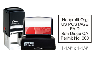 "Customize this 1 1/4"" x 1 1/4"" bulk rate Nonprofit stamp with your information. Black ink only. Great for high volume stamping. Orders over $25 ship free!"