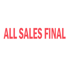 "This ALL SALES FINAL self-inking stock stamp has an approx. size of 1/2"" x 1-1/2"" and is available in your choice of 11 ink colors. Orders over $15 ship free!"