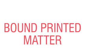 This BOUND PRINTED MATTER self-inking stock stamp comes in one of our 5 standard and 6 premium ink colors and a choice of 4 sizes. Orders over $15 ship free!