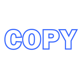 This COPY outline self-inking stock stamp can be ordered in one of 4 sizes as well as 5 standard and 6 premium ink colors. Orders over $15 ship free!