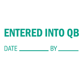 This ENTERED INTO QB self-inking stock stamp can be ordered in one of 4 sizes and your choice of 5 regular and 6 premium ink colors. Orders over $25 ship free!