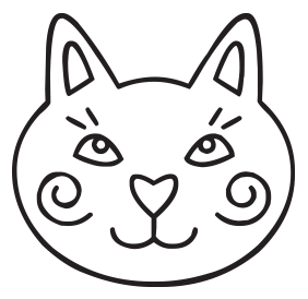 Cat face self-inking rubber stamp available in your choice of 4 sizes and 11 ink colors. Refillable with Ideal ink. Online orders over $45 get free shipping.