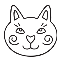 Cat face self-inking rubber stamp available in your choice of 4 sizes and 11 ink colors. Refillable with Ideal ink. Orders over $45 ship free!