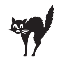 Scared Halloween cat self-inking rubber stamp available in your choice of 4 sizes and 11 ink colors. Reink with Ideal ink. Orders over $45 ship free!