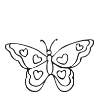 Butterfly with hearts self-inking rubber stamp available in your choice of 4 sizes and 11 ink colors. Reink with Ideal ink. Online orders over $25 ship free.