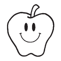 Apple with smiley face self-inking rubber stamp available in your choice of 4 sizes and 11 ink colors. Refillable with Ideal ink. Orders over $25 ship free.